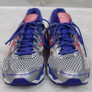Asics Women's Silver Blue Athletic Running Shoes